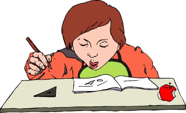 卡通小孩写作业