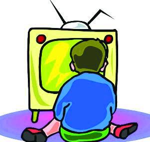 小朋友看电视儿童画
